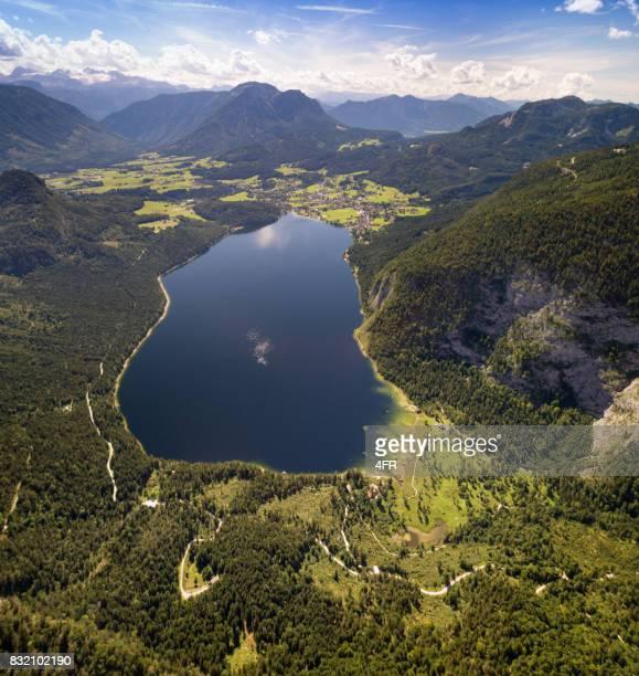 Altausseer See mit Dachstein Gletscher, Österreich, Aerial Panorama