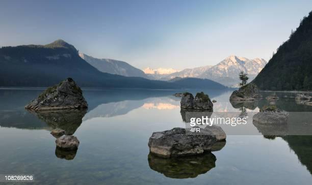 Lake Altaussee mit Dachstein Gletscher, österreichischen Alpen Nature Reserve Panorama