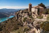 Lake and Church of Siurana, Tarragona, Catalonia, Spain.