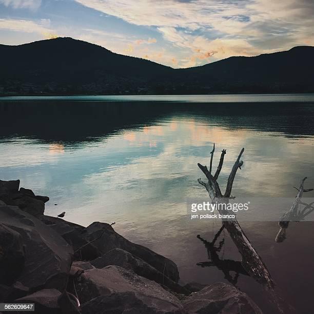 Lake and mountain landscape, Hobart, Tasmania, Australia