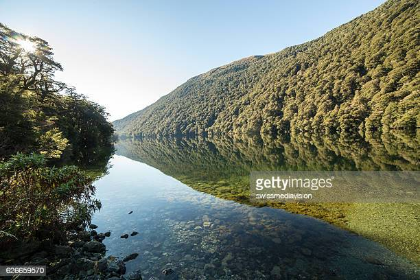 Lake and mountain landscape in Fiordland national park, New Zealand