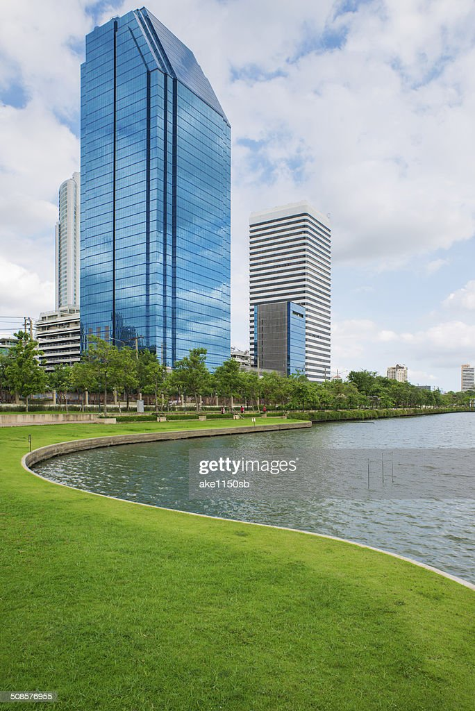 Lake and park in Bangkok city : Stock Photo
