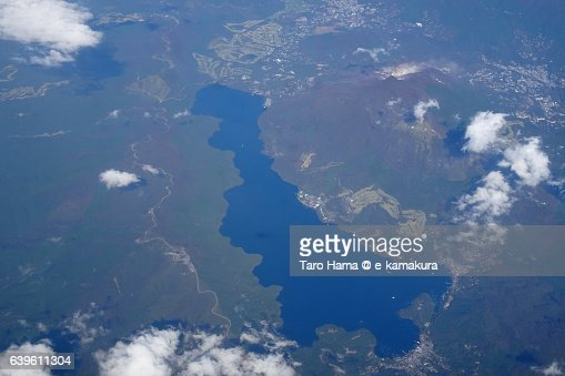 Lake Ashinoko aerial view from airplane : ストックフォト