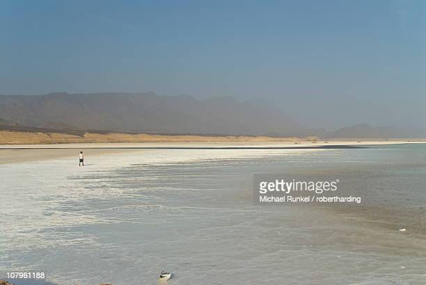 Lake Assal crater lake in the central Djibouti with its salt pans, Afar Depression, Djibouti, Africa