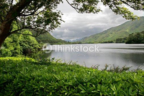Lake at Kylemore Abbey Castle : Stock Photo