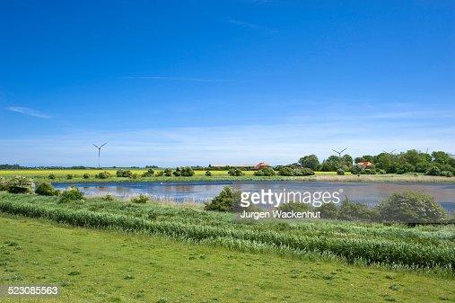 Lake at the flood dyke, Westermarkelsdorf, Island of Fehmarn, Baltic Sea, Schleswig-Holstein, Germany, Europe