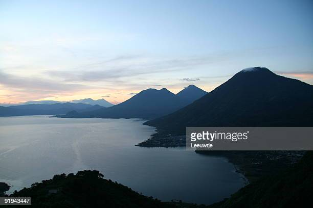 lake Atitlan Guatemala with volcanoes