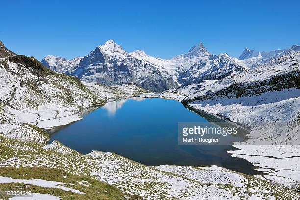 Lake Bachalpsee with Wetterhorn mountain.