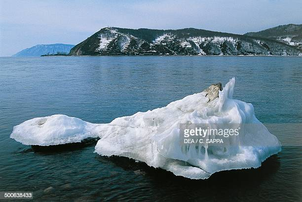 Lake Baikal with an ice block in the foreground southern Siberia Russia
