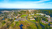 Lake Ballinger Park Mountlake Terrace Washington USA Mt Rainier Background Seattle Heights Neighborhood