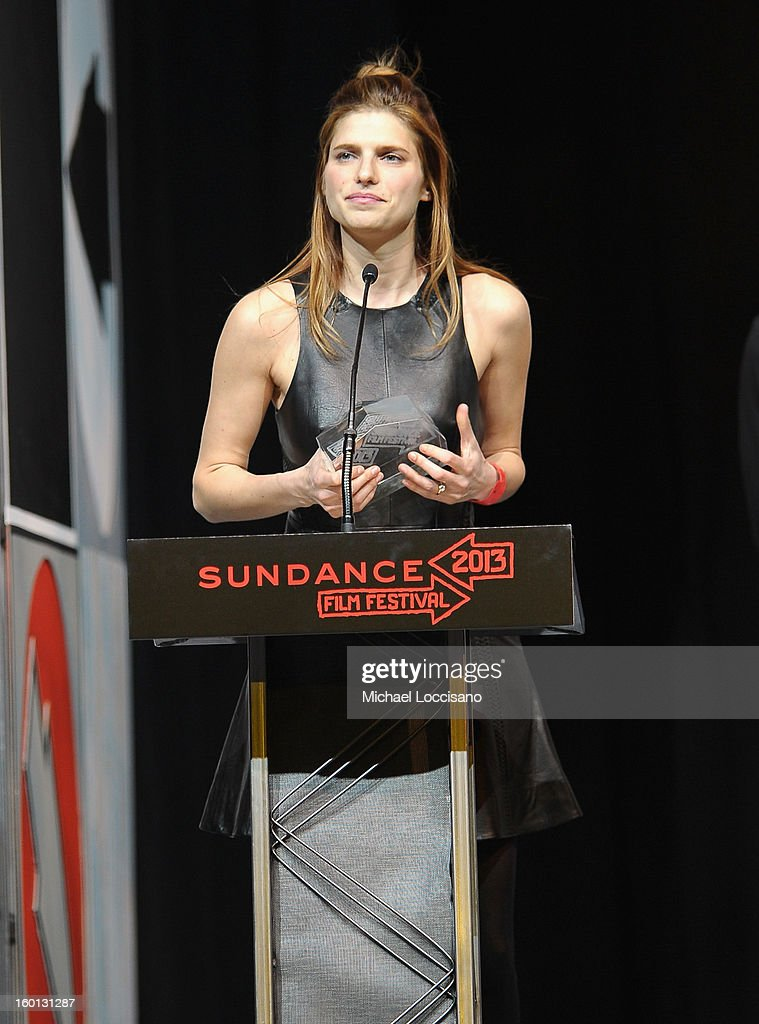 <a gi-track='captionPersonalityLinkClicked' href=/galleries/search?phrase=Lake+Bell&family=editorial&specificpeople=209336 ng-click='$event.stopPropagation()'>Lake Bell</a> accepts award for Screenwriting US Dramatic for the film In A World during the Awards Night Ceremony during the 2013 Sundance Film Festival at Basin Recreation Field House on January 26, 2013 in Park City, Utah.