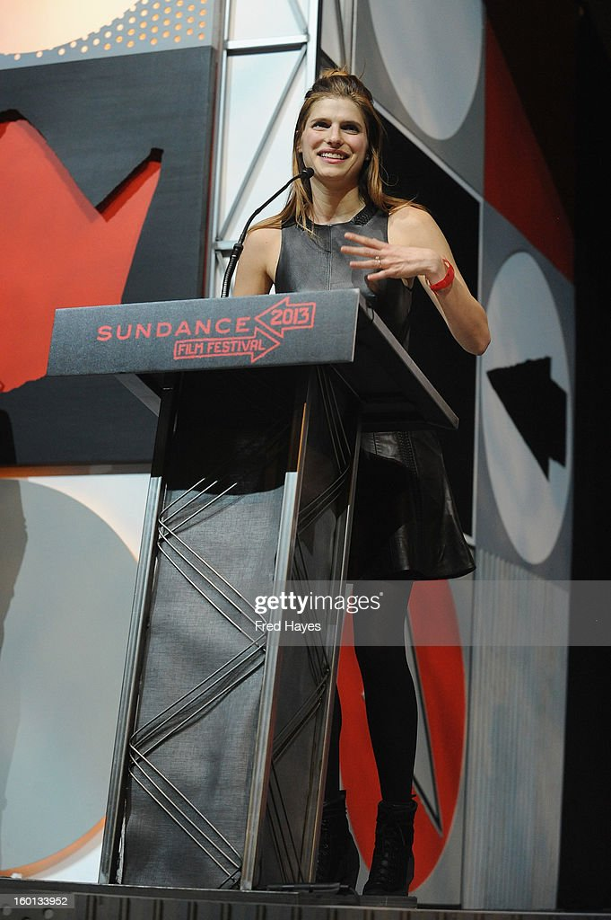 Lake Bell accepts the Waldo Salt Screenwriting Award: U.S. Dramatic for In A World onstage at the Awards Night Ceremony during the 2013 Sundance Film Festival at Basin Recreation Field House on January 26, 2013 in Park City, Utah.