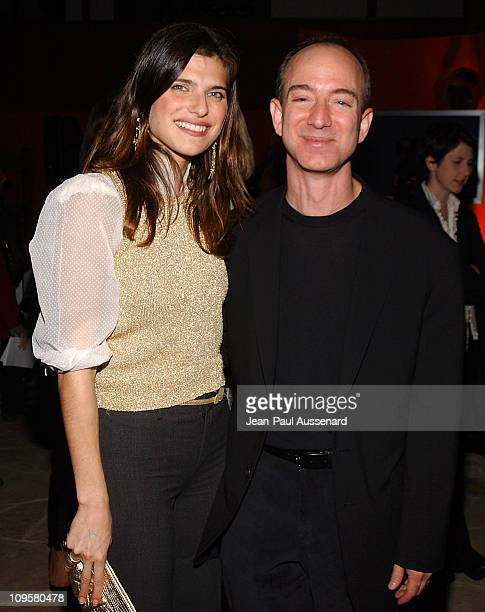 Lake Bell and Jeff Bezos CEO of Amazon during Amazoncom Goes Hollywood for the Holidays Inside at Poolside at the Hollywood Roosevelt Hotel in...