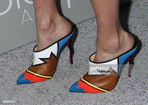 Lake Bell shoe detail attends 'The Orchard's DIOR I' New York Screening at Paris Theater on April 7 2015 in New York City