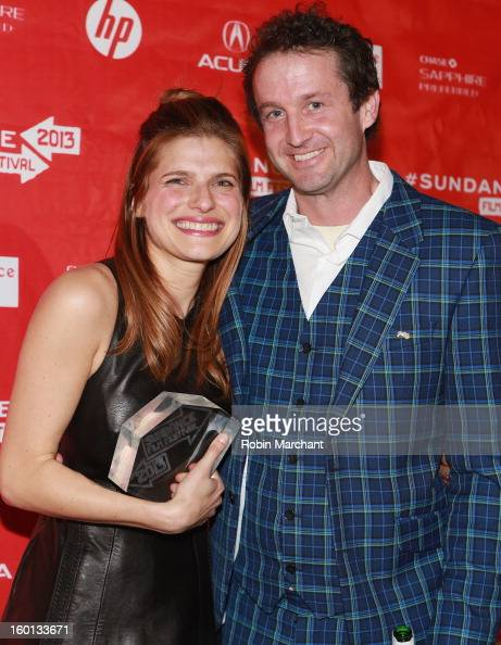 Lake Bell winner of the Waldo Salt Screenwriting Award US Dramatic for In A World and Sundance Film Festival Programmer Trevor Groth pose at the...