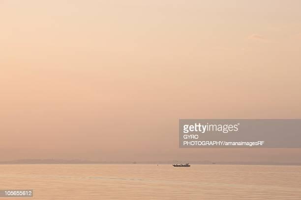 Lake Biwa and fishing boat, Shiga Prefecture, Honshu, Japan