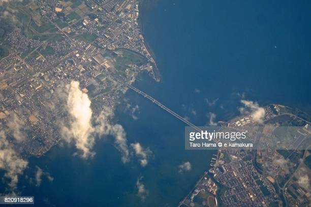 Lake Biwa Bridge between Otsu and Moriyama cities day time aerial view from airplane