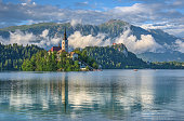 Cloud scenery of Lake Bled after raining