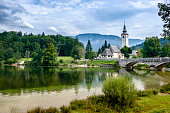 A picturesque view on Lake Bohinj and the church in Ribčev Laz, Slovenia