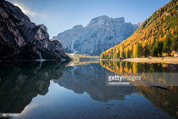 Lake Braies in Dolomite mountains, South Tyrol, italy