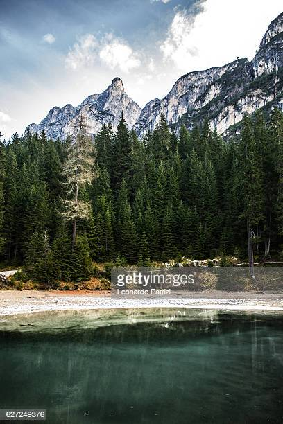 Lake Braies in Italy - scenic view in early morning