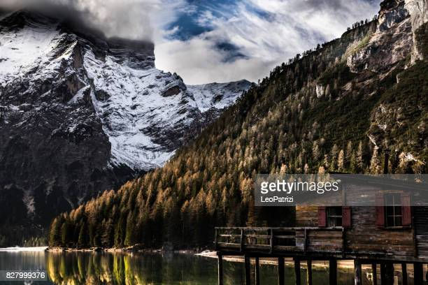 Lake Braies in Italy - scenic view of Dolomites