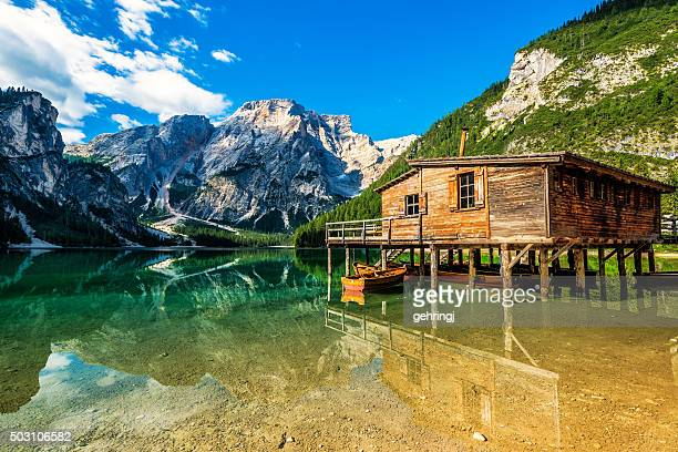 Lake Braies (Pragsersee) in South Tyrol in Summer