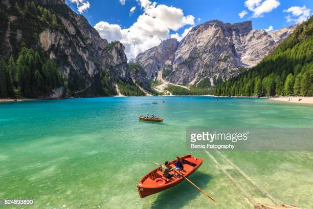 07/19/2017 Lake braise,Dolomite, Italy : People sailing boat during their holiday