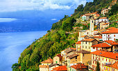Small town on the Lake Como in northern Italy near Milan, Italy