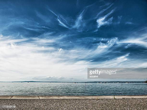 lake constance with dramatic sky