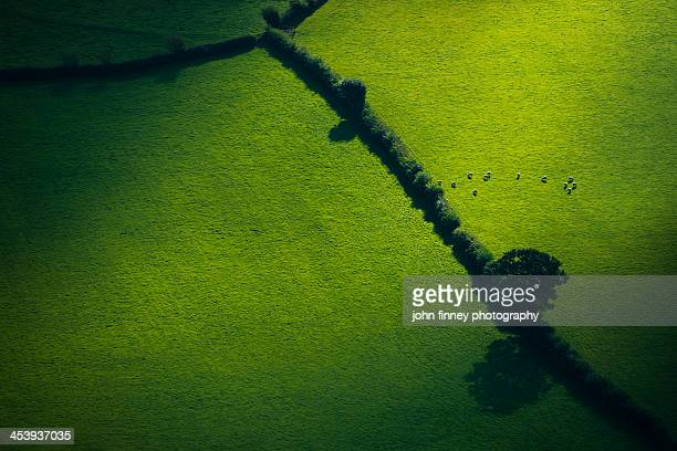 Lake District green fields from above, England