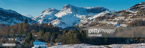 Lake District idyllic winter mountain panorama Langdale Valley