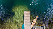 Lake dock with canoe on a clear water lake