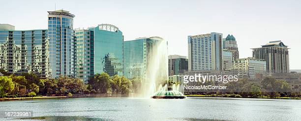 Lake Eola Orlando Panorama Sunny daytime with Fountain