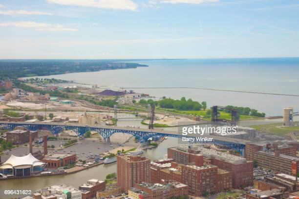 Lake Erie and Cuyahoga River from up high in Cleveland