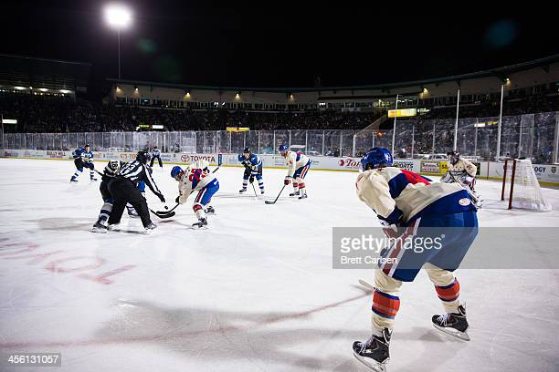 Lake Erie Monsters travel to Rochester to take on the Rochester Americans for the Frozen Frontier outdoor AHL matchup on December 13 2013 at Frontier...