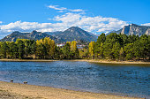 An autumn view of Lake Estes, with The Stanley Hotel and Rocky Mountains in background, Estes Park, Colorado, USA.