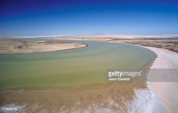 Lake Eyre National Park, South Australia. Channel country flood waters flow into Lake Eyre in flood season.
