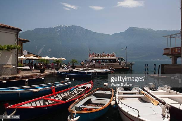 Lake ferry, Porto Vecchio, Limone sul Garda, Lake Garda, Lake District, Lombardy, Italy