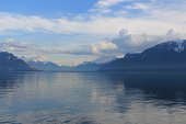 Lake Geneva in blue