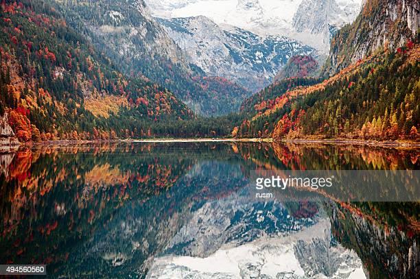 Gosausee 湖、秋に、ザルツカンマーグート、オーストリア