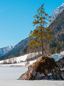 Famous lake Hintersee, Berchtesgaden, in a sunny winter day