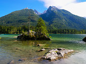 Famous and beautiful Lake Hintersee, Ramsau, Germany, on a sunny summer day.