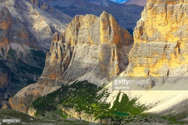 Lake in Idyllic Lagazuoi summit panorama, Cinque Torri Dolomites, pinnacles mountain range, dramatic and majestic Italy tirol alps
