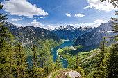 Lake Koenigsee am pilgrimage Bartholomae seen from Archenkanzel, Berchtesgaden, Bavaria, Germany