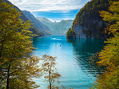 Famous and beautiful lake Koenigssee, Berchtesgadener Land, Bavaria in autumn