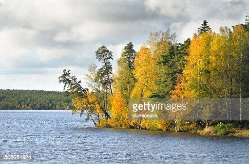 lake landscape during Fall season : Stock Photo