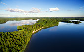 Beautiful unspoiled lake landscape in Finland.