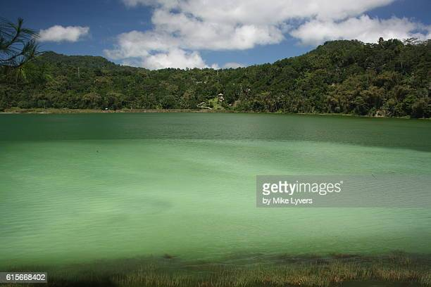 Lake Linow, sulfur-stained crater lake near Tomohon