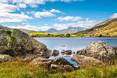 View of Snowdon peak from lake Llynnau Mymbyr in Snowdonia National Park, North Wales